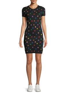 Alice + Olivia Hayden Short-Sleeve Fitted Star Jacquard Dress