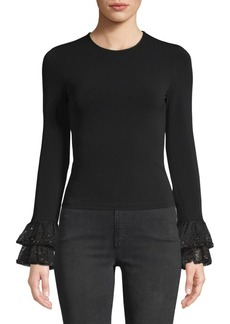 Alice + Olivia Haylen Embellished Tiered Bell Sleeve Sweater