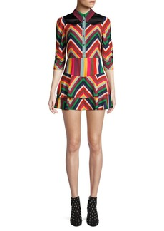 Alice + Olivia Hazeline Rainbow Chevron Stripe Mini A-Line Shirt Dress
