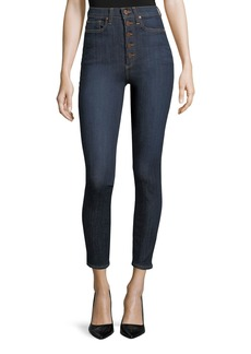 Alice + Olivia High-Rise Exposed Buttons Skinny Jeans