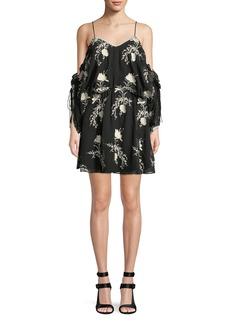 Alice + Olivia Holden Embroidered Cold-Shoulder Dress