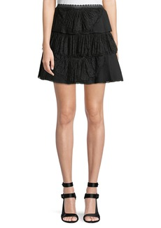 Alice + Olivia Iggy Pleated Lace Mini Skirt