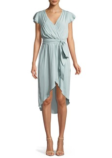 Alice + Olivia Ilissa Flutter-Sleeve Silk Wrap Dress
