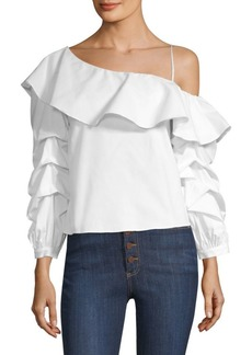 Alice + Olivia Irvine One-Shoulder Ruffle Top