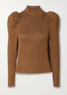 Alice + Olivia Issa Gathered Metallic Wool-blend Turtleneck Sweater
