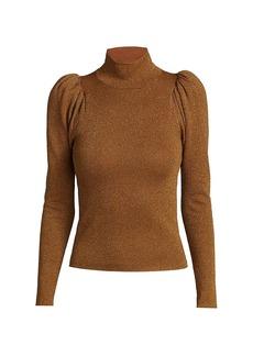 Alice + Olivia Issa Glitter Puff-Sleeve Turtleneck Sweater