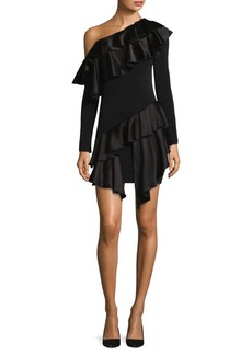 Alice + Olivia Izzy Tiered Asymemtric Ruffled One-Shoulder A-Line Dress