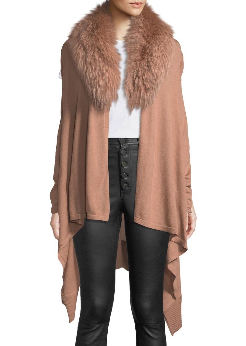 Alice + Olivia Izzy Wool-Cashmere Duster Cardigan w/ Fur Collar
