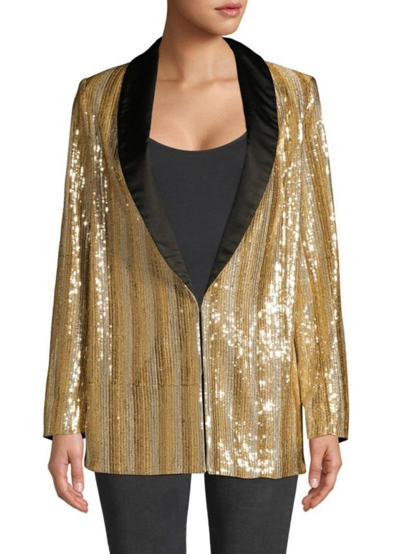 Alice + Olivia Jace Oversize Shawl Collar Sequin Blazer