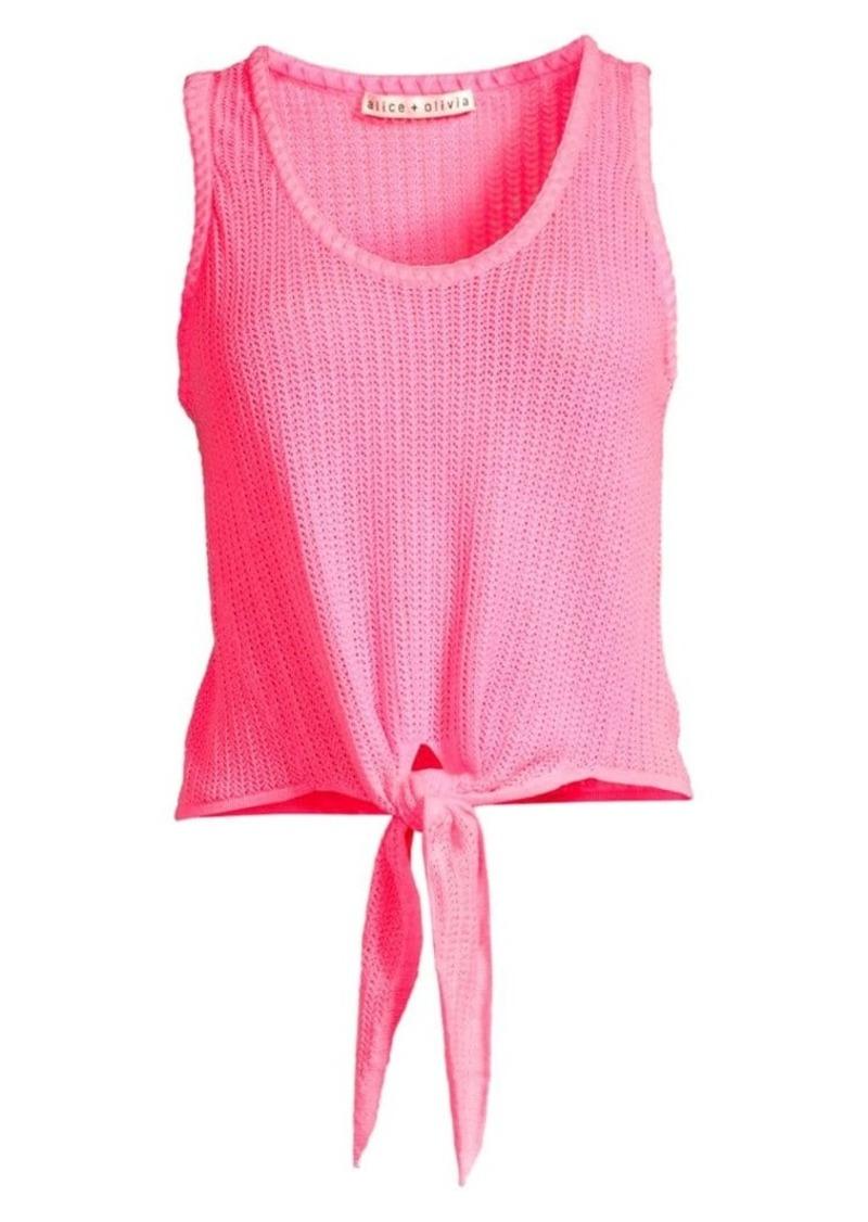 Alice + Olivia Jacinda Tie-Front Knit Tank Top