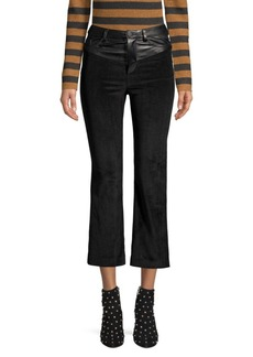 Alice + Olivia Jacob Leather Yoke Crop Trousers