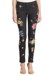 Alice + Olivia Jane Embroidered Studded Skinny Jeans