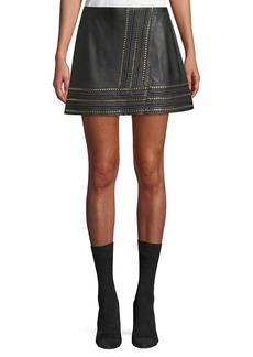 Alice + Olivia Jaya Leather Mini Skirt w/ Chain Trim