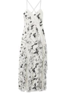 Alice + Olivia Jayda Lace-trimmed Ruffled Floral-print Silk Crepe De Chine Maxi Dress