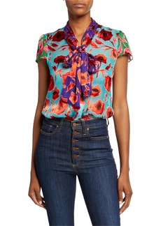 Alice + Olivia Jeannie Colorblock Floral Bow-Collar Cap-Sleeve Top