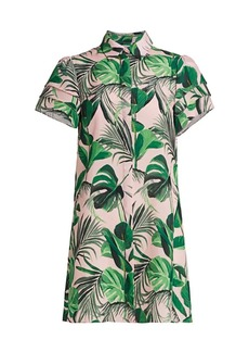 Alice + Olivia Jem Palm Ruffle-Sleeve Shirtdress