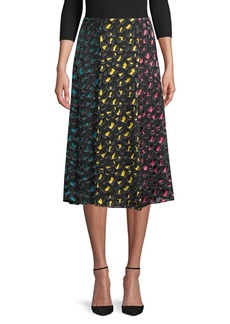 Alice + Olivia Jenessa Silk- Blend Abstract Midi Skirt