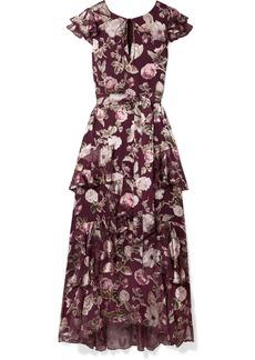 Alice + Olivia Jenny tiered floral-print fil coupé chiffon maxi dress