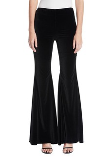 Alice + Olivia Jinny Side-Zip Full-Length Velvet Pants