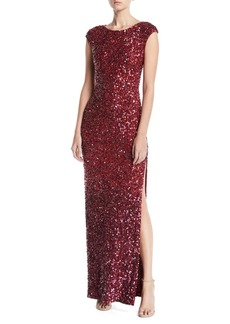 Alice + Olivia Jojo Embellished Fitted Gown
