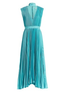 Alice + Olivia Joleen Pleated V-Neck Midi Dress