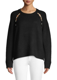 Alice + Olivia Jolynn Faux-Pearl Trim Raglan-Sleeve Sweater