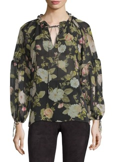 Alice + Olivia Julius Balloon Sleeve Floral Silk Blouse