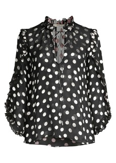 Alice + Olivia Julius Polka Dot Silk-Blend Ruffle-Sleeve Blouse