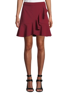 Alice + Olivia Juno Ruffle-Front Fit-Flare Skirt