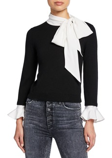 Alice + Olivia Justina Colorblock Tie-Neck Long-Sleeve Combo Sweater