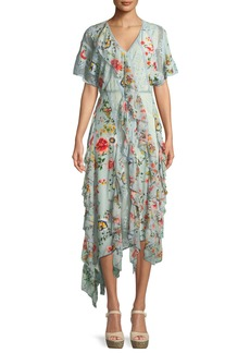 Alice + Olivia Kadence Short-Sleeve Floral-Print Lace Godet Dress w/ Ruffled Frills