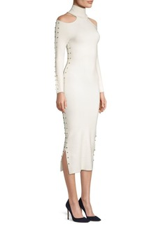 Alice + Olivia Kahlo Studded Cold-Shoulder Midi Dress