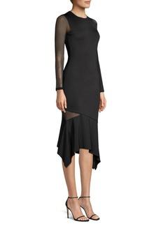 Alice + Olivia Kaine Asymmetric Mesh Dress