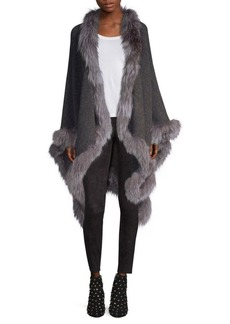 Alice + Olivia Kamala Oversize Fox-Fur Trimmed Poncho