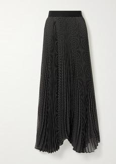 Alice + Olivia Katz Asymmetric Pleated Polka-dot Crepon Maxi Skirt