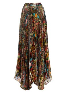 Alice + Olivia Katz Floral Pleated Maxi Skirt