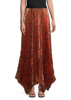 Alice + Olivia Katz Pleated Leopard Maxi Skirt