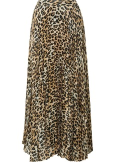 Alice + Olivia Katz Pleated Metallic Leopard-print Silk-blend Gauze Maxi Skirt