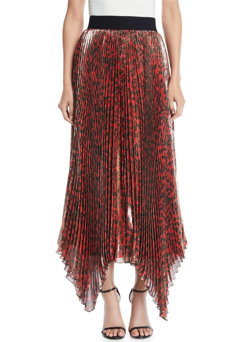 Alice + Olivia Katz Shimmery Leopard Pleated Maxi Skirt