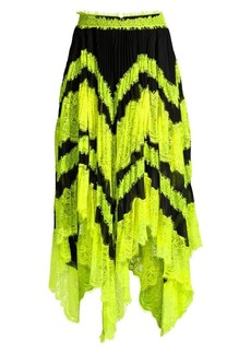 Alice + Olivia Katz Sunburst Asymmetric Lace Midi Skirt
