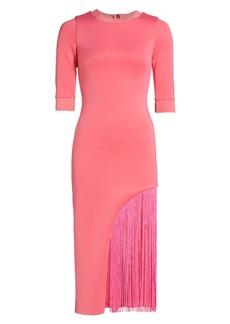 Alice + Olivia Keanna Asymmetrical Fringe Bodycon Dress