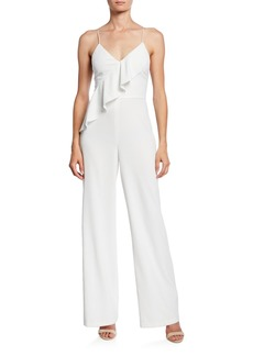 Alice + Olivia Keeva Sleeveless Cross Ruffle Jumpsuit