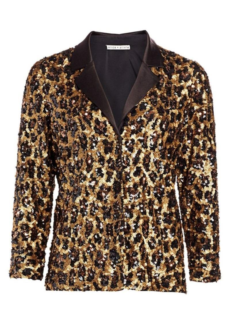 Alice + Olivia Keir Sequin Leopard Print Pajama Top