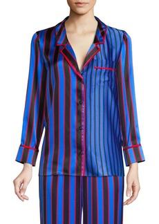Alice + Olivia Keir Striped Silk Pajama Top