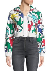 Keith Haring x Alice + Olivia Barron Cropped Wide-Sleeve Zip-Up Hoodie