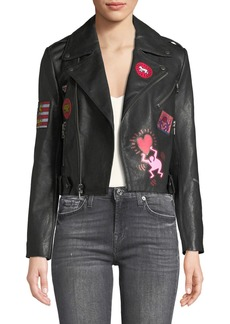 Keith Haring x Alice + Olivia Cody Crop Printed Leather Moto Jacket