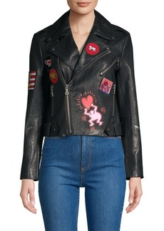 Keith Haring X Alice + Olivia Cody Painted Embroidered Leather Jacket