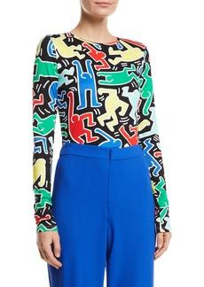 Keith Haring x Alice + Olivia Delaina Long-Sleeve Crewneck Crop Top