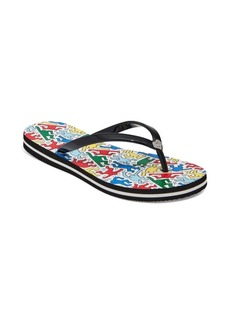 Keith Haring x Alice + Olivia Eva Abstract Thong Sandals