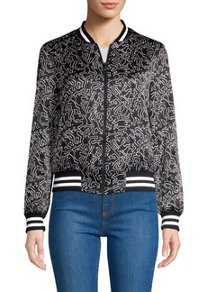Keith Haring X Alice + Olivia Lonnie Graphic Reversible Silk Bomber Jacket